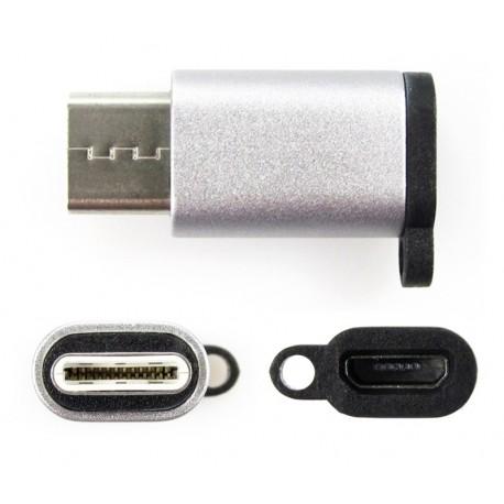 Adapter MicroUSB - USB Typ-C srebrny