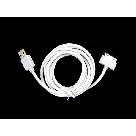 iPHONE 3G 3GS 4G 4S iPAD iPOD Kabel USB biały standard 2m