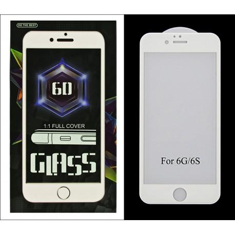 iPHONE 6 6S 4.7 PROTECTOR SZKŁO HARTOWANE NA LCD 9H 6D BIAŁA