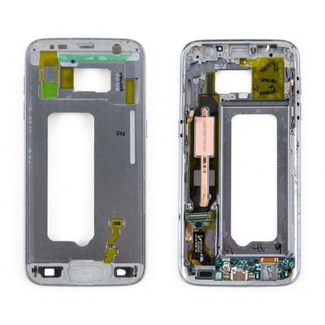 Samsung SM-G930F GALAXY S7 Taśma + złącze microUSB + korpus BLACK z taśmą boczną ORYGINALNY