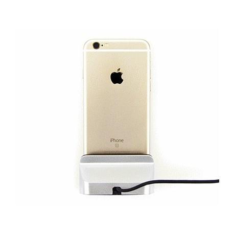 Ładowarka biurkowa iPHONE 8 7 6S 6 5 5S 5C 5SE ipad mini srebrna z kablem