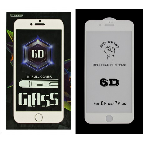 iPHONE 8 7 + PLUS 5.5'' PROTECTOR SZKŁO HARTOWANE NA LCD 9H 6D WHITE