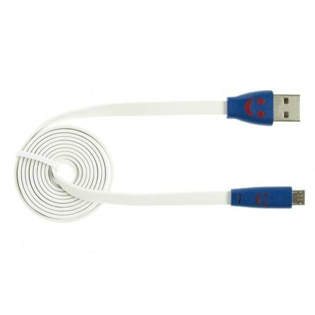 Kabel USB - MICROUSB biały PODŚWIETLANIE LED